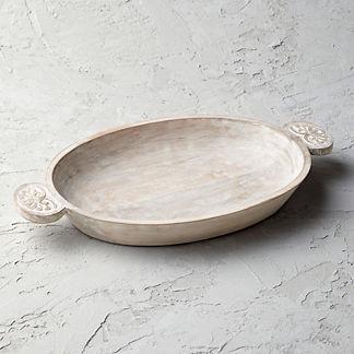Whitewash Carved Platter