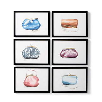 Watercolor Clutch Giclee Prints, Set of Six
