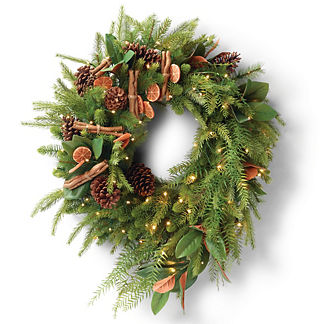 Magnolia Leaf, Pine Cone and Orange Wreath