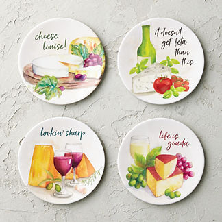 Cheesy Melamine Appetizer Plates, Set of Four