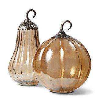 Brown Luster Pumpkin with Metal Stem