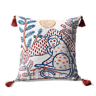 Zuri Monkey Embroidered Square Indoor/Outdoor Pillow Cover