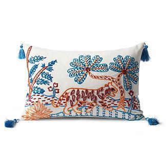 Zuri Tiger Embroidered Indoor/Outdoor Lumbar Pillow Cover