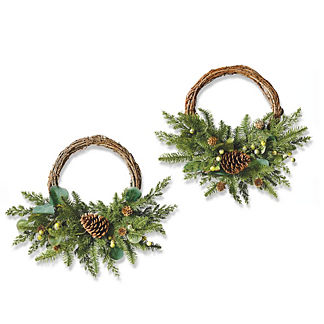 Majestic Holiday Chairback Wreaths, Set of Two