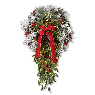 Flocked Cordless Indoor Wreath with Swag