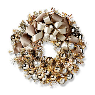 Silver Bells Metallic Outdoor Cordless Wreath