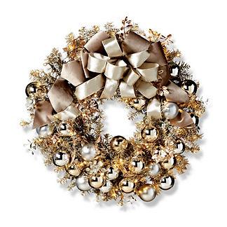 Silver Bells Metallic Outdoor Cordless Wreath