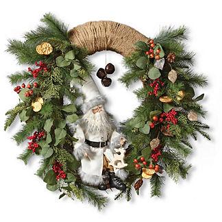 Santa in Oval Wreath