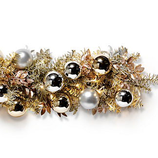 Silver Bells Metallic Outdoor Cordless 6 ft. Garland