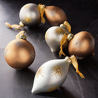 Starburst Gold/Silver Accent Ornaments, Set of Six
