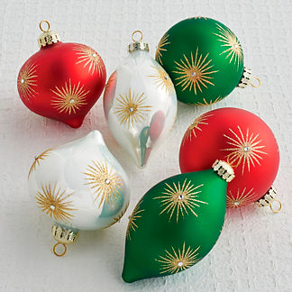Starburst Multi Accent Ornaments, Set of Six