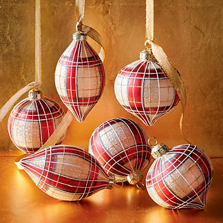 Burgundy, White and Gold Plaid Accent Ornaments, Set of Six