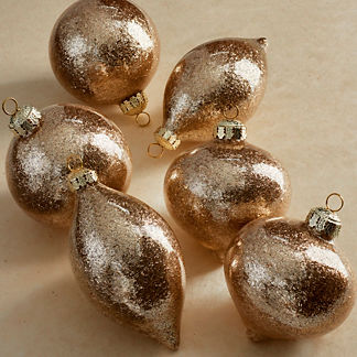 Champagne Gold-flecked Accent Ornaments, Set of Six