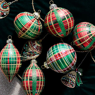 Red and Green Plaid Accent Ornaments, Set of Six