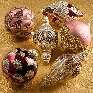 Burgundy and Gold Ornaments, Set of Six
