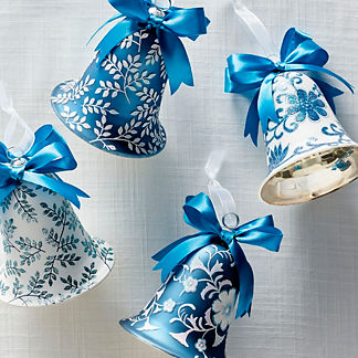 Blue and White Bell Accent Ornaments, Set of Four