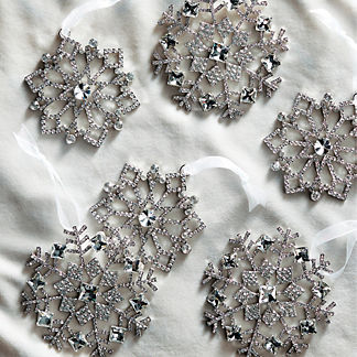 Crystal Snowflake Accent Ornaments, Set of Six