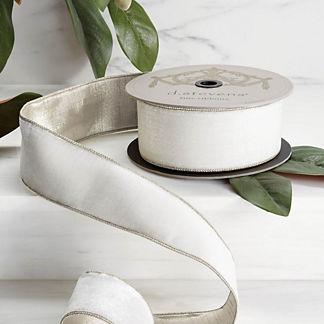 Winter White Velvet Ribbon with Platinum Back