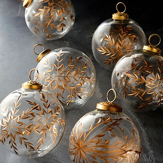Gold Etched Glass Accent Ornaments, Set of Six