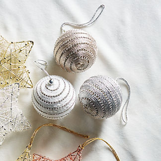 Rhinestone Braided Ball Accent Ornaments, Set of Six