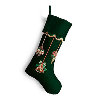 Mixed Ornaments Beaded Velvet Stocking