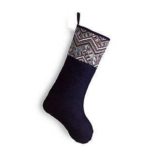 Delft Blue Beaded Velvet Stocking