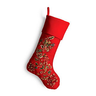 Traditional Flora Foliage Jeweled Stocking