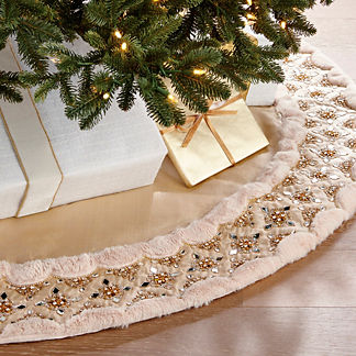 Gold Rush Solitaire Crystal and Faux Fur Tree Skirt