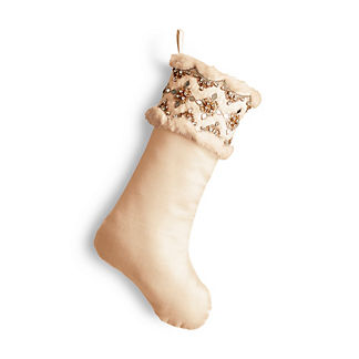 Gold Rush Solitaire Crystal and Faux Fur Stocking