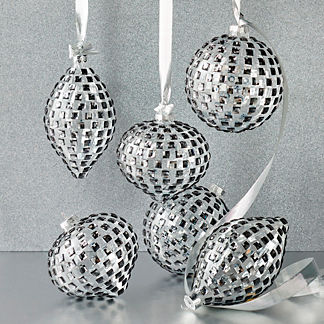 Diamond Accent Ornaments, Set of Six
