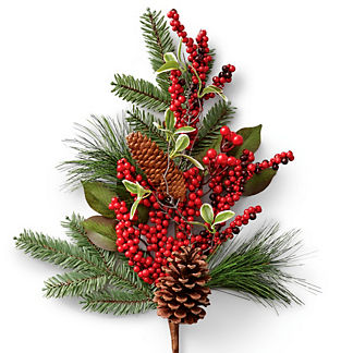 Berry and Pine Cone Stems, Set of Six