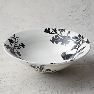 Italian Sparrow Handpainted Serving Bowl
