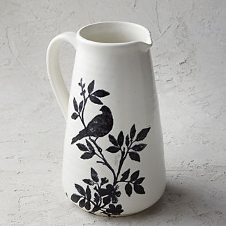 Italian Sparrow Handpainted Pitcher