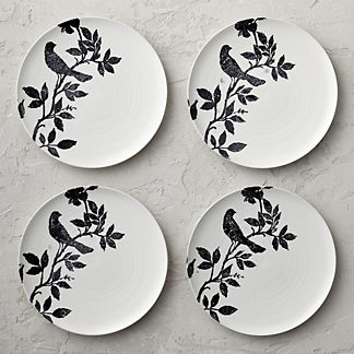 Italian Sparrow Handpainted Dinner Plates, Set of Four