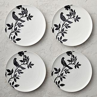 Italian Sparrow Handpainted Dinner Plates, Set of Four