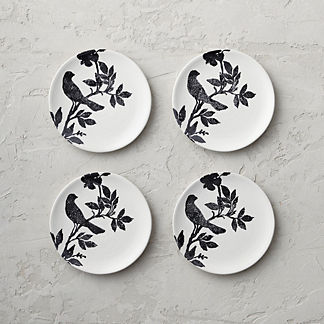 Italian Sparrow Handpainted Salad Plates, Set of Four