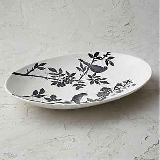 Italian Sparrow Handpainted Oval Platter