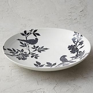 Italian Sparrow Handpainted Round Platter