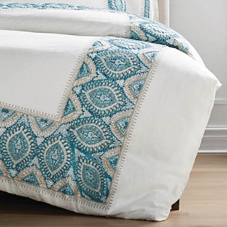Ayla Embroidered Duvet Cover in Green