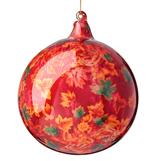 Foliage Glitter Glass Ball Ornament
