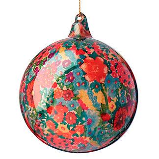 Floral Glitter Glass Ball Ornament