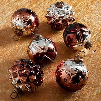 Embossed Ornaments, Set of Six