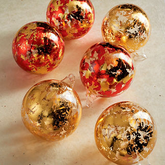 Metallic Leaf Glass Sphere Ornaments, Set of Six