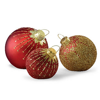 LED Glitter Jeweled Ornaments
