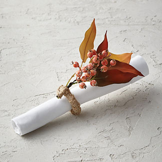 Berry and Leaf Fall Floral Napkin Rings, Set of Four