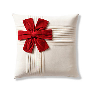Holiday Bow Velvet Decorative Pillow Cover