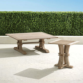 Teak Farmhouse Coffee Table in Weathered Finish