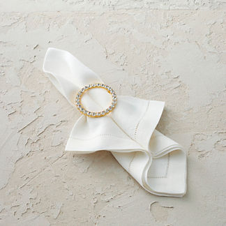 Crystal Round Napkin Rings, Set of Four