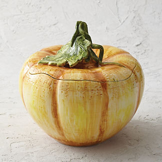 Pumpkin Ceramic Tureen with Lid