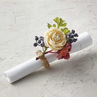 Mixed Floral and Blueberry Fall Floral Napkin Rings, Set of Four